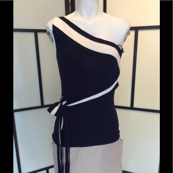 Gorgeous knit navy one shoulder, sash belt top  ML